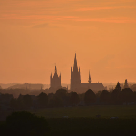 Ypres cloth hall and cathedral