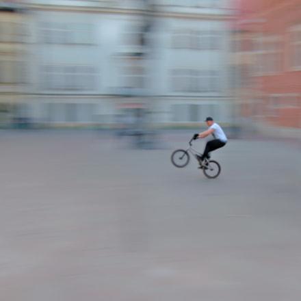 Biking alone.