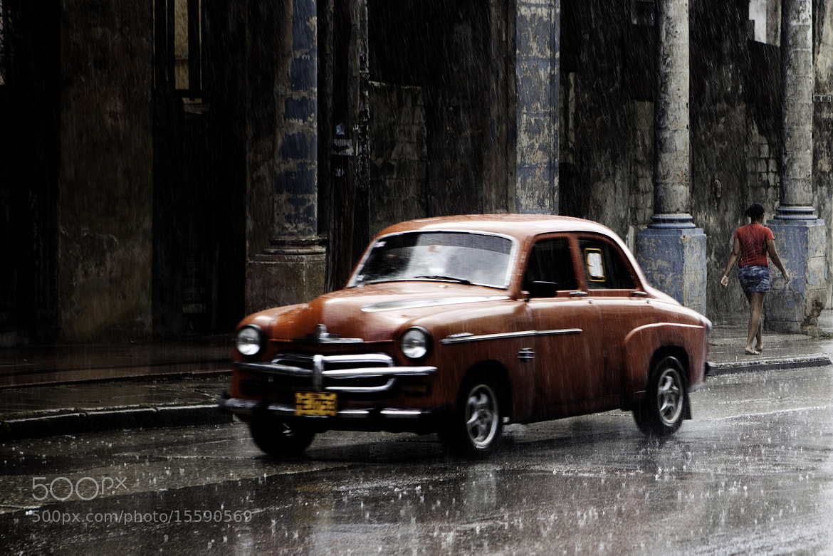 Photograph Red Car in the Rain,Cuba by David Seminatore on 500px