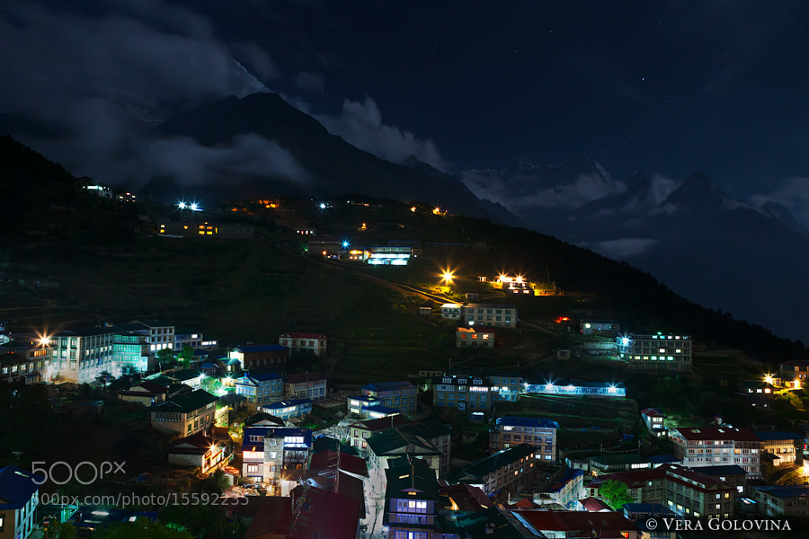 Photograph Namche Bazaar at Night by Vera Golovina on 500px