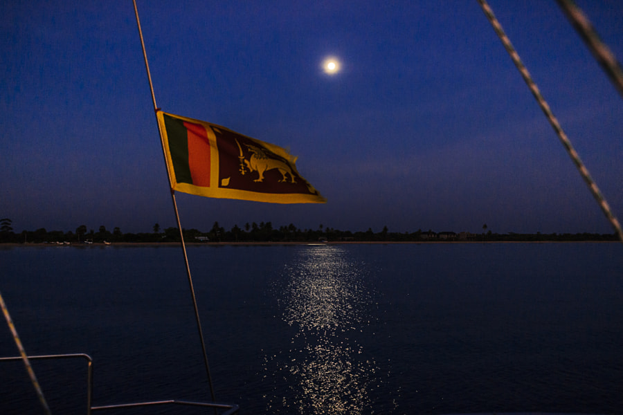 The Moon and a Flag, Vakarai, Sri Lanka by Son of the Morning Light on 500px.com
