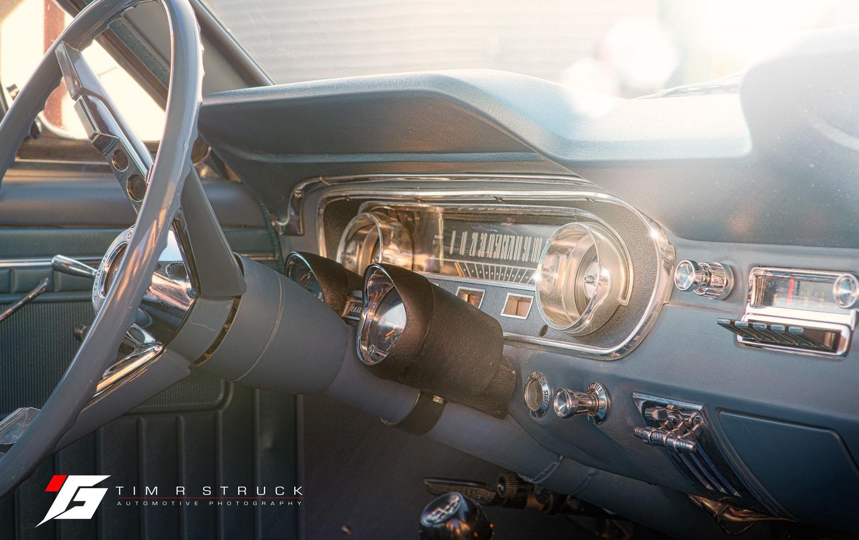 1965 Mustang 2+2 fastback interior at sunset outside Billings Montana at sunset