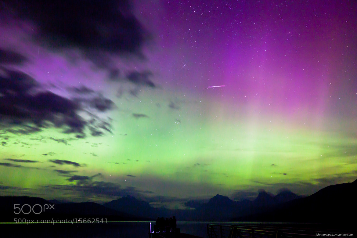 Photograph Northern Lights and Meteor in Glacier by John Harwood on 500px