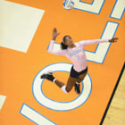 Knoxville, TN - outside hitter Tiffany Baker #7 of the Tennessee Lady Volunteers of the Tennessee Lady Volunteers during the SEC matchup between the University of Tennessee Volunteers and the University of Missouri Tigers.