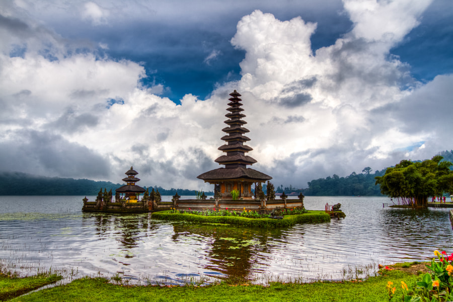Bedugul temple on the lake.
