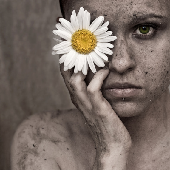 Photograph the girl with the daisy by Violet D'Art on 500px