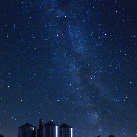 Silos Under Milky Way, Canon EOS 60D, Sigma 8mm f/3.5 EX DG Circular Fisheye