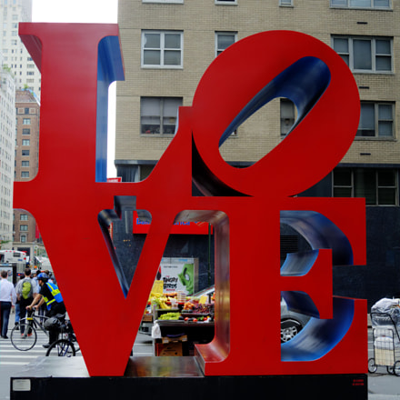 LOVE monument in New York on 6 Avenue and 55 Street in Midtown by Robert Indiana.