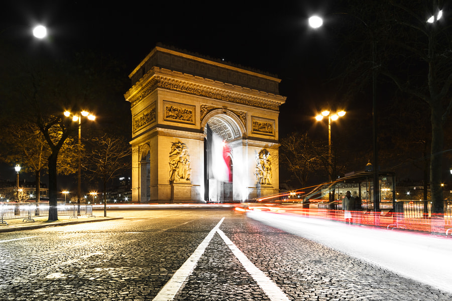 Long Exposure Shot on Place de L'Etoile