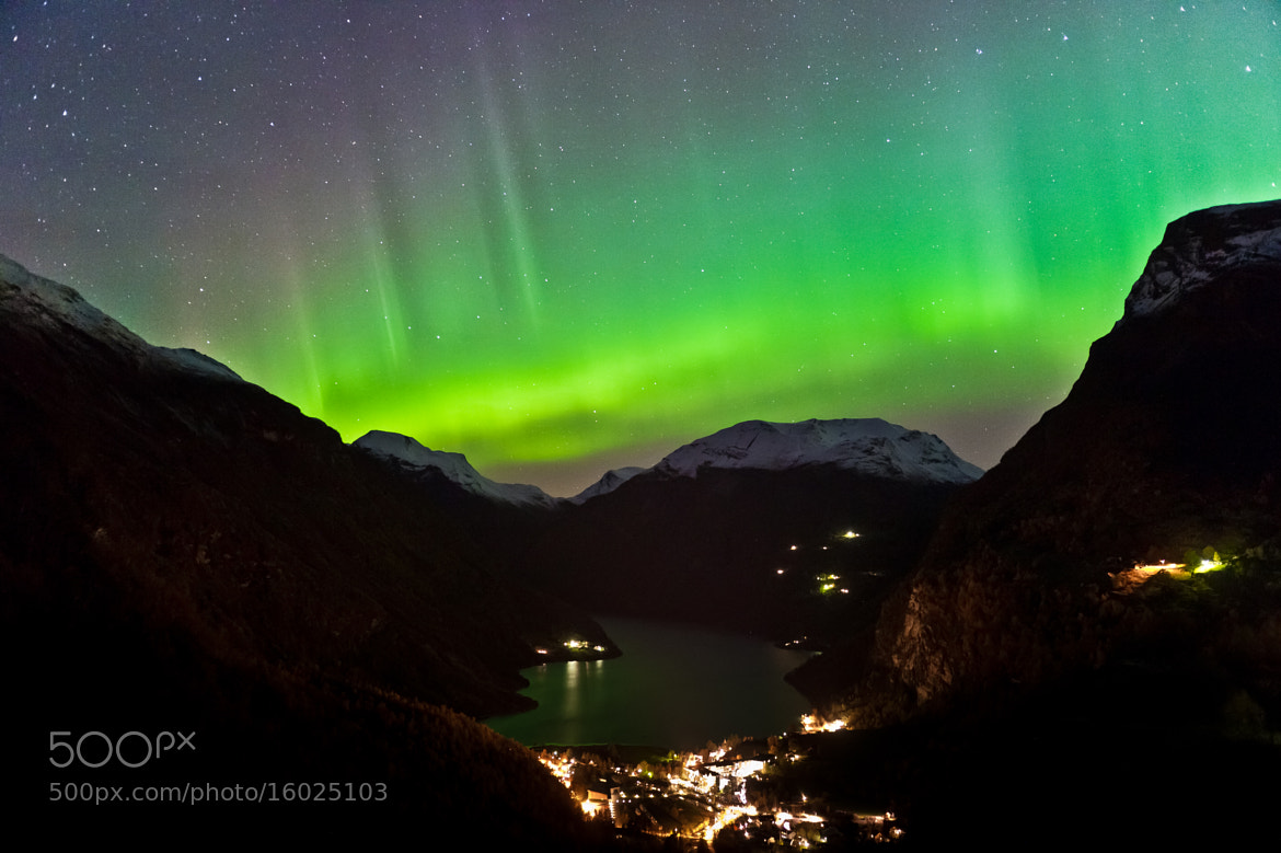 Photograph Northern light over Geiranger. by Geir Magne  Sætre on 500px