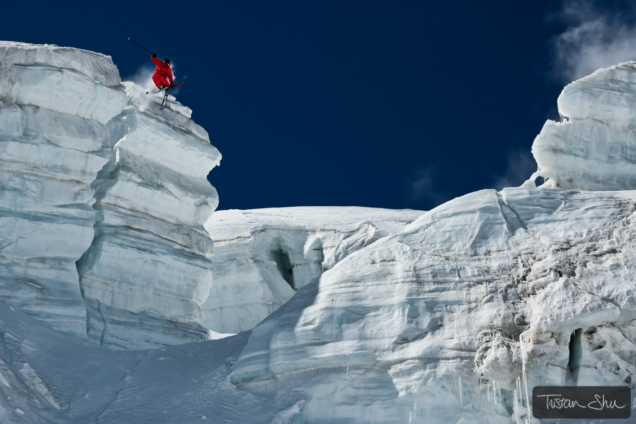 Photograph Jumping Ice Cliff with Guerlain Chicherit by Tristan Shu on 500px