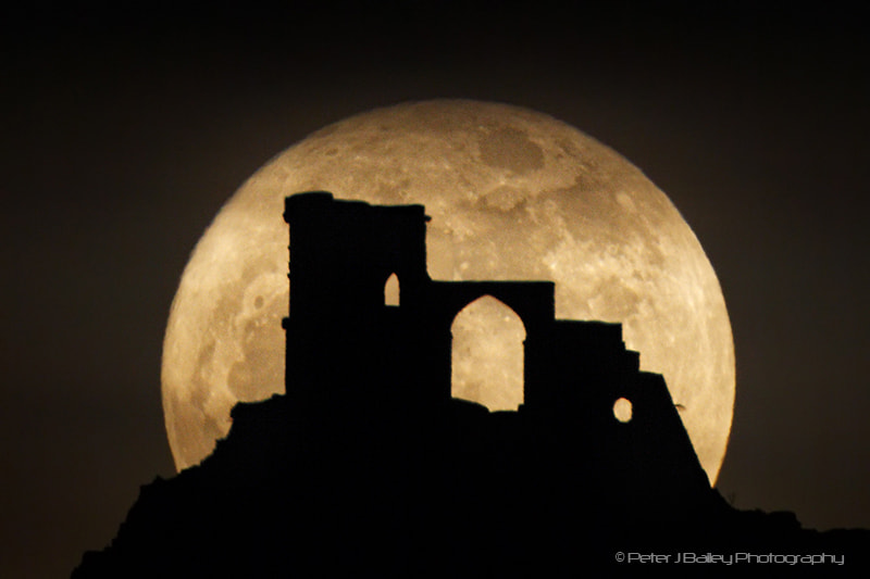 Photograph The Moon and Mow Cop by Peter J Bailey on 500px