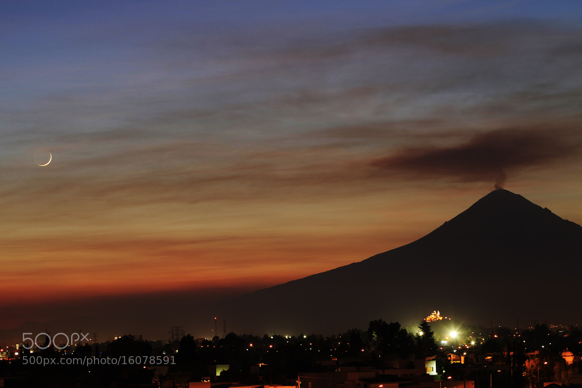 Photograph volcano at susnset and new moon by Cristobal Garciaferro Rubio on 500px
