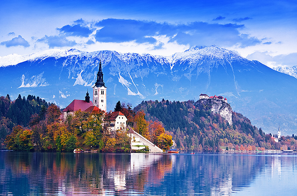 Photograph The church on the lake, Bled  by F Levente on 500px
