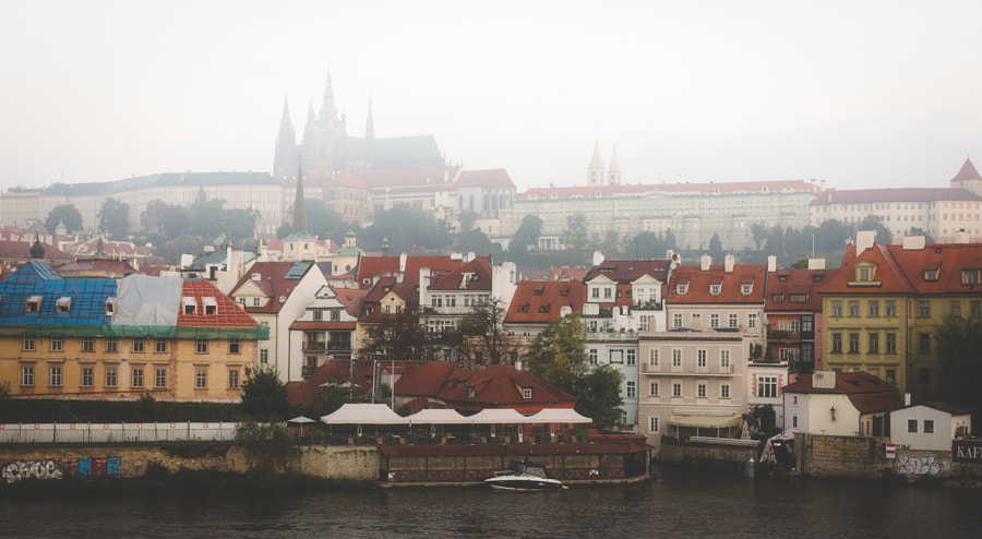 Misty morning over Prague castle