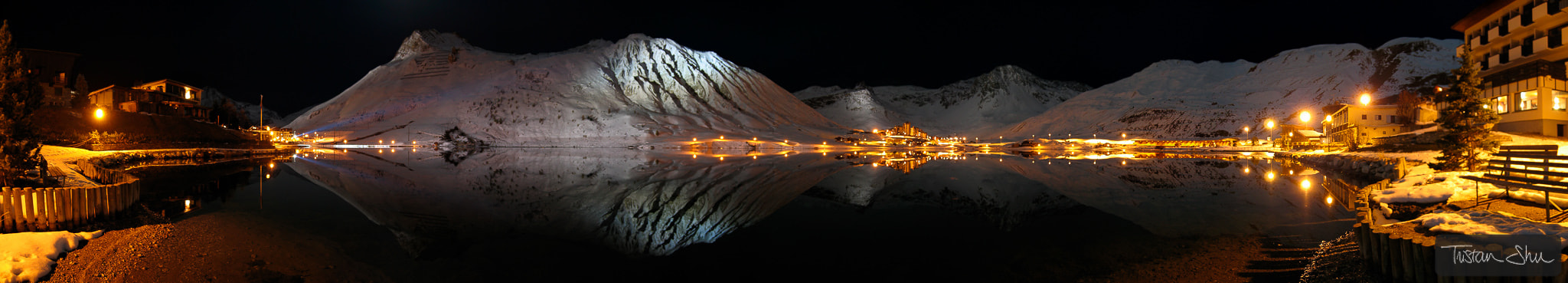 Photograph Night Reflections on the Tignes lake by Tristan Shu on 500px