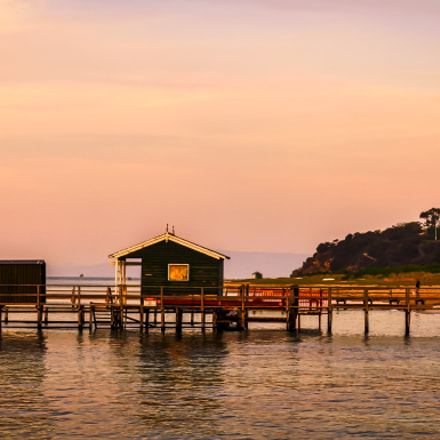 Pier Hut at Sunset.