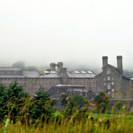 Dartmoor Prison on a misty day
