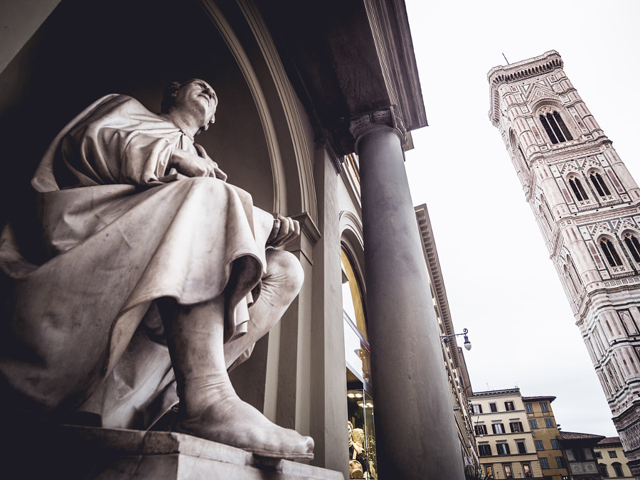 Italy Florence Statue of Filippo Brunelleschi and Giotto's bell by alfredogarciatv / Alfredo Garcia Perez on 500px.com
