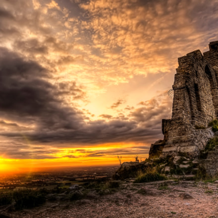 sunset at mow cop castle