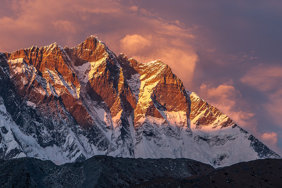 Mt. Lhotse south face in fire by Eugene on 500px.com