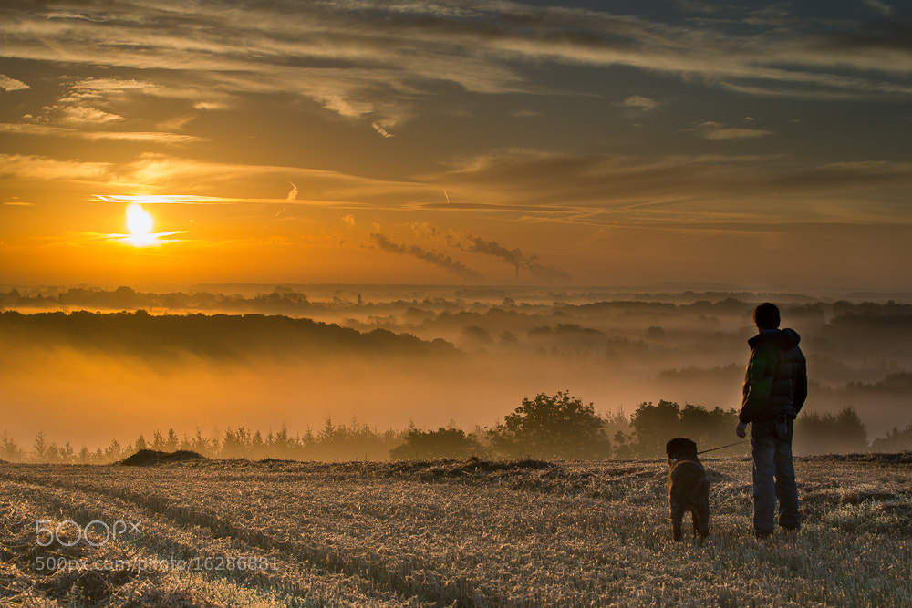 Photograph Me and the dog enjoying a misty sunrise by Oliver Wright on 500px