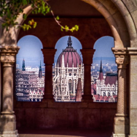 Parliament seen from Fisherman's bastion-Budapest