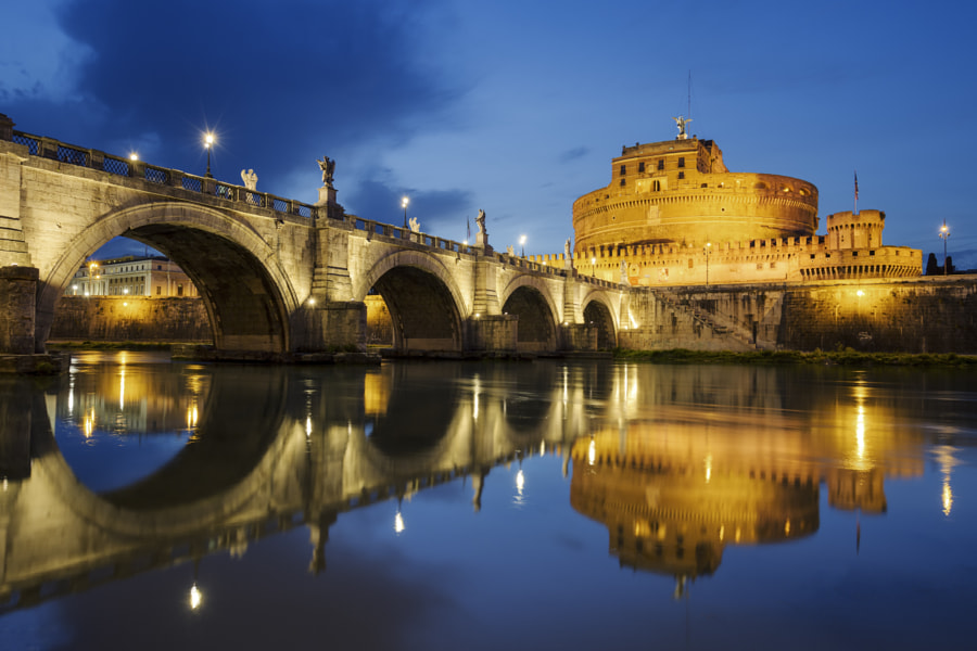 Castle of Holy Angel and Holy Angel Bridge over the Tiber River by frederic prochasson on 500px.com