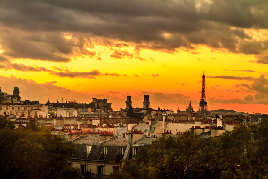 Paris right at sunset