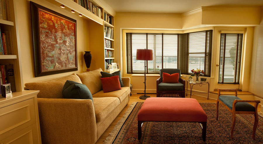 The den and library, designed by Cristina Hadzi for a client's penthouse apartment on the upper west side of NYC
