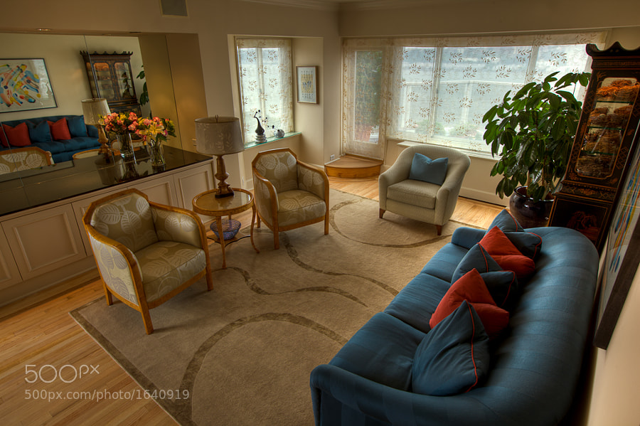 The living room, designed by Cristina Hadzi for a client's penthouse apartment on the upper west side of NYC