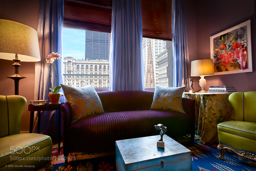 Cristina Hadzi's living room with a view of Trinity Church in her apartment in downtown NYC