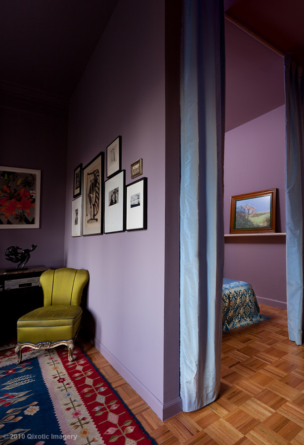 A rented wall, separating the livingroom from the bedroom in Cristina Hadzi's apartment in downtown NYC