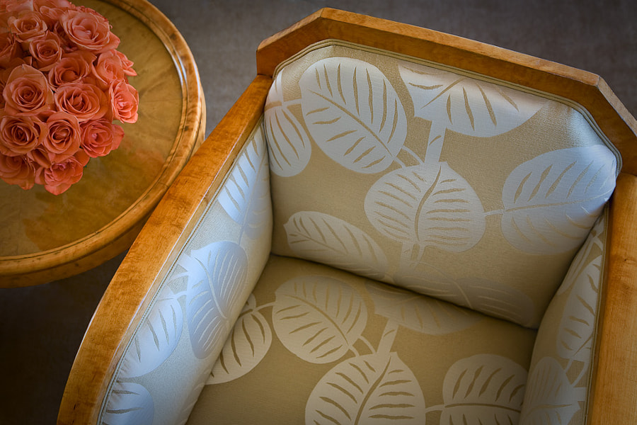 The chair, re-upholstered in fabric by Cristina Hadzi.
