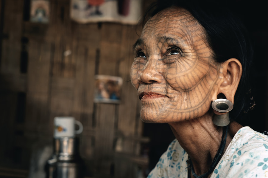 Portrait of old tattooed woman, Myanmar by Dmytro Gilitukha on 500px.com