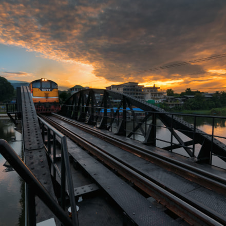 The train at the bridge of the River Kwai.