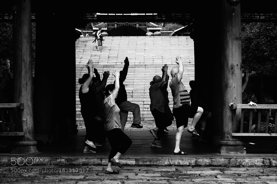 Morning Forge,dancing like some praying ceremony. Typical sport in China.
