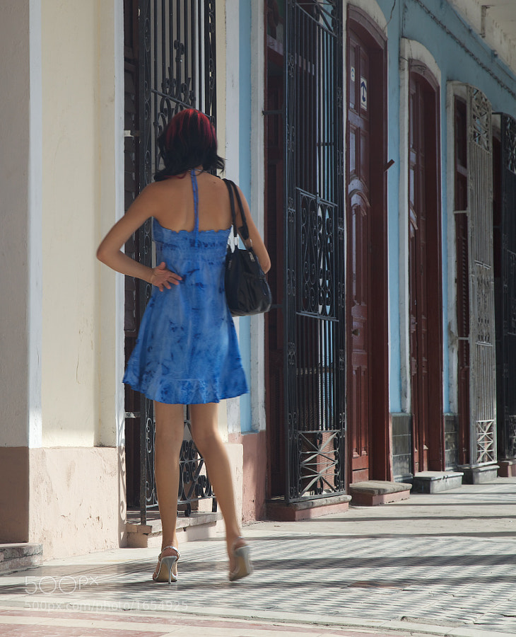 The girl in the blue dress, Calle 37, Cienfuegos, Cuba