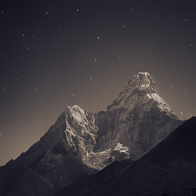 Ama Dablam (6,856 m) in the fullmoon light by Anton Jankovoy on 500px.com