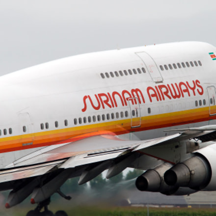 Surinam Airways 747 taking off from Schiphol