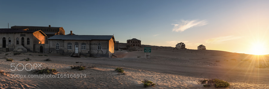 Setting sun behind Kolmanskop