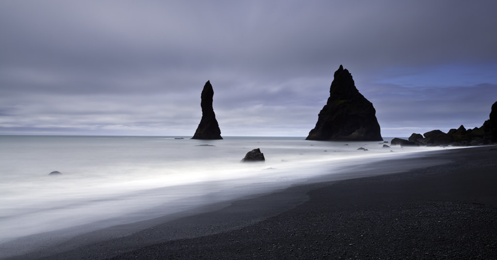 Photograph Black basalt and beach spires by George Pearson on 500px