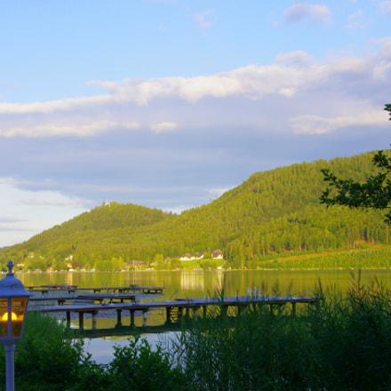 Evening sun at lake Klopein