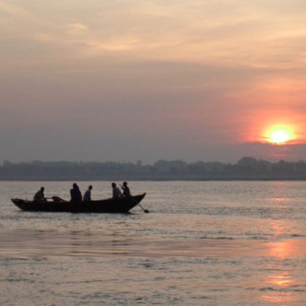 Ganges river, sunset., Nikon SQ