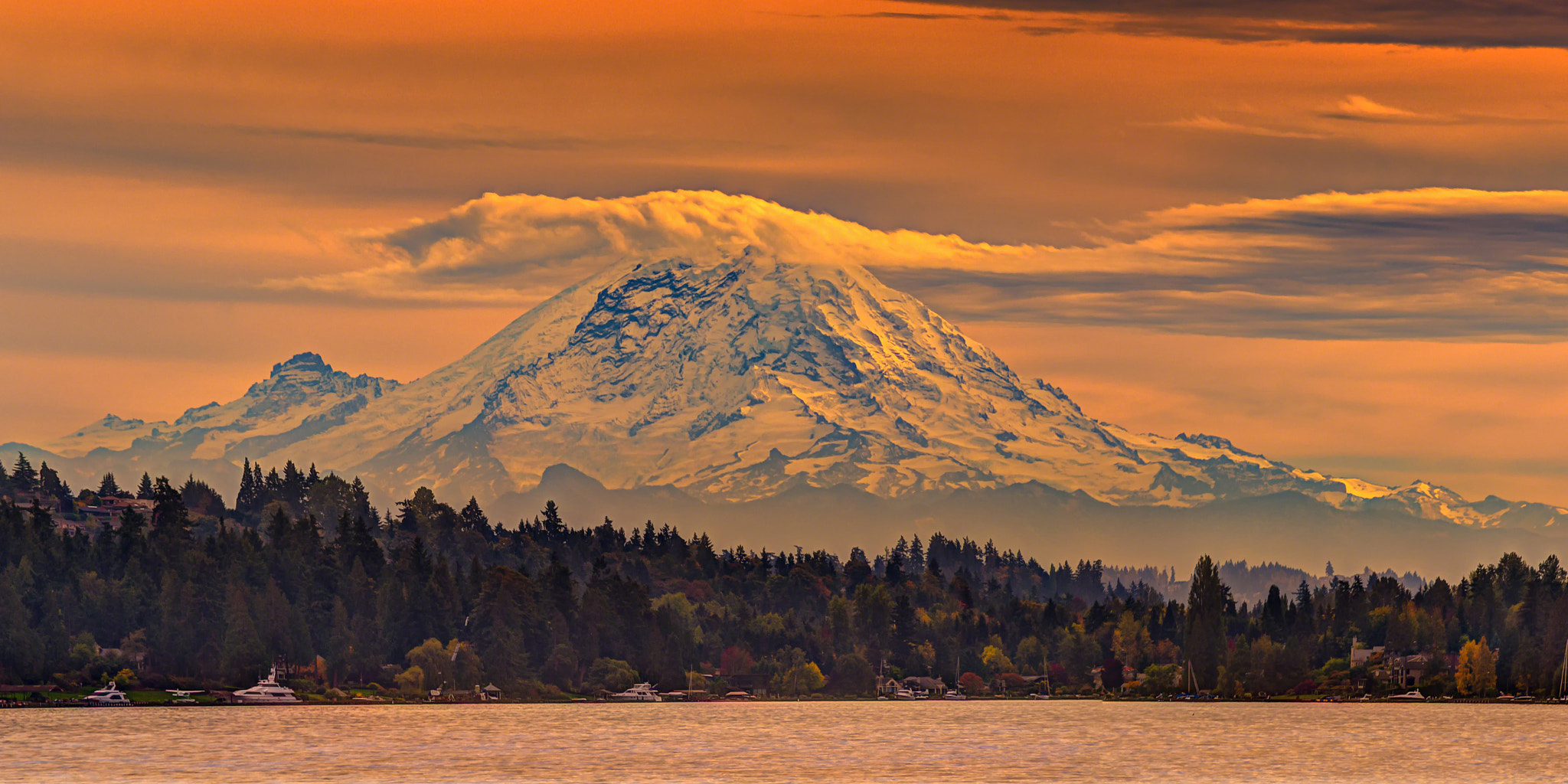 Photograph Mt Rainier at twilight from Seattle, WA, USA by Alvin Kroon on 500px