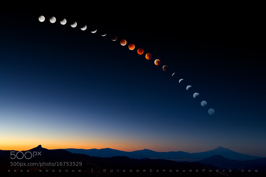Photograph Lunar Eclipse Over Mt. Shasta by Sean Bagshaw on 500px