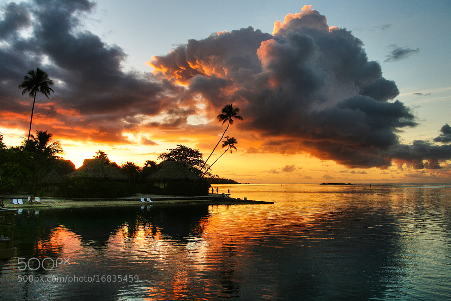 Cloudy sunset on Moorea