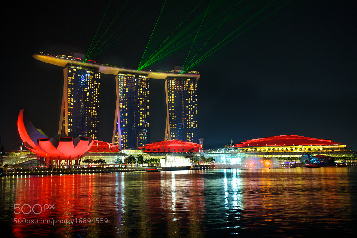 Photograph Marina Bay Sands - Red Lighting and Laser Show by Sean Cheng on 500px