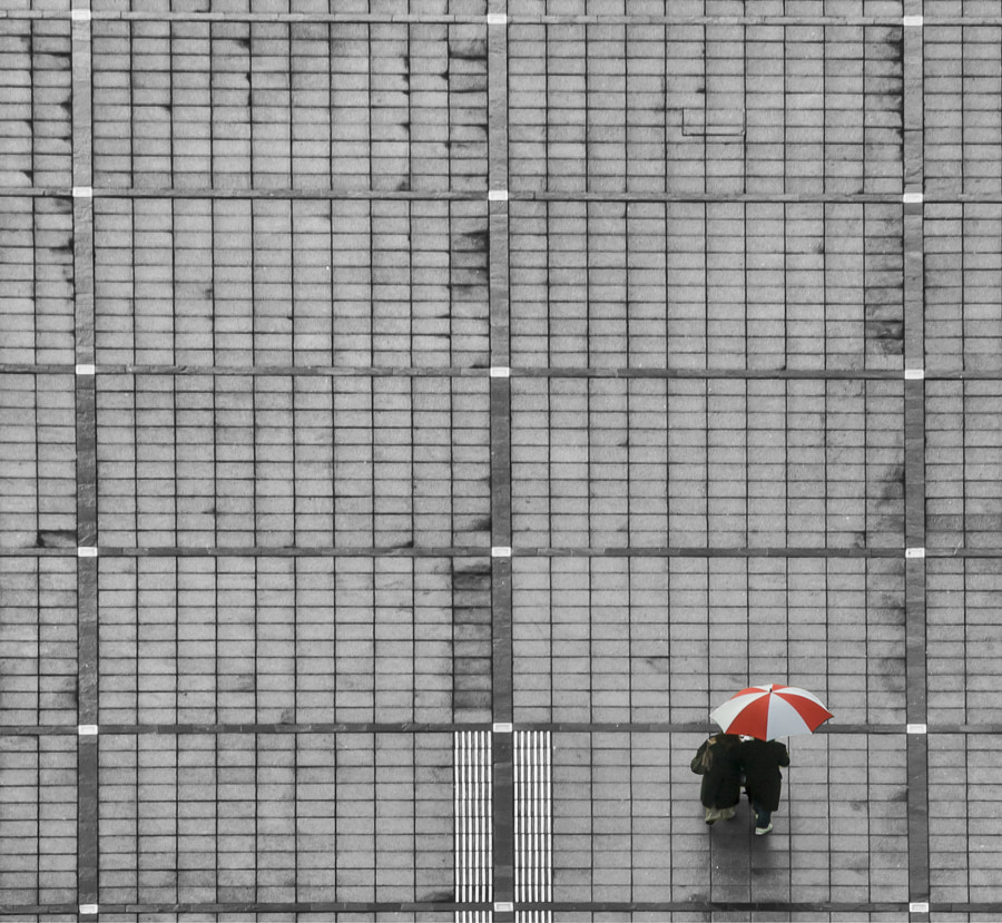 Red and White brolly