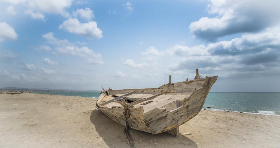Wrecked fishing boat on Masirah Beach
